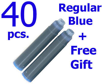 40 Fountain Pen Ink Cartridge Refills BLUE + GIFT