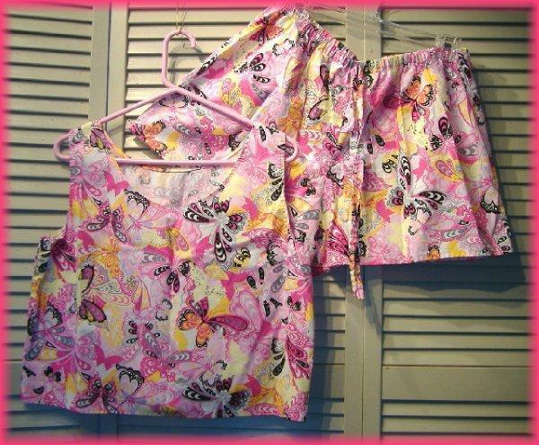 "2 pc Top & Shorts Set (10/12) Pink Butterfly Blitz - Handmade - 38""- 40"" bust"