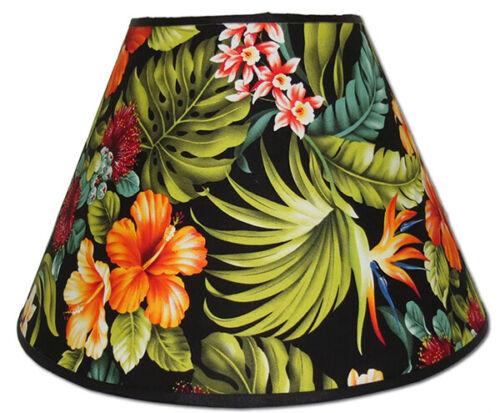 "Hawaiian Floral Lamp Shade Nylon 9""Hx13""D Hawaii Handcrafted Spider Harp Fitter"