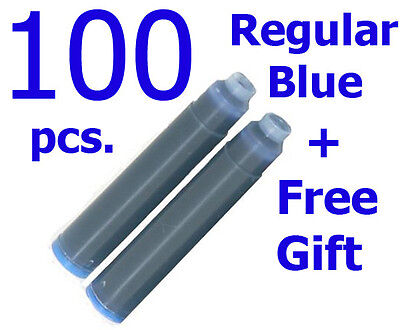 100 Fountain Pen Ink Cartridges Refills BLUE+GIFT High Quality Made In Germany !
