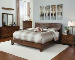 Distressed Queen Platform 3 Piece Bedroom set - Dark Amber & coffee beans - Bed, Night Stand and Chest