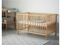 Wooden Cot . Solid beech. Adjustable heights. +FREE mattress