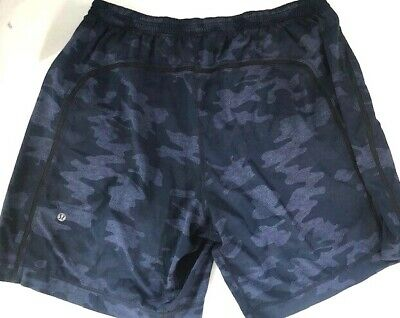 "LULULEMON Mens Pace Breaker Short 9"" Blue Camo Camouflage XXL Shorts Gym Run Fun"