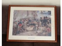 Large framed picture of Nelson on the Victory titled 'The hero of Trafalgar'