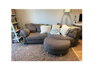 DFS Embrace corner sofa with half moon footstool in excellent condition.