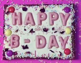 Giant Happy Birthday Brownie Slabs
