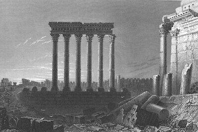 Lebanon, BALBEC BAALBEK TEMPLE JUPITER COLUMNS RUINS ~ 1836 Art Print Engraving comprar usado  Enviando para Brazil