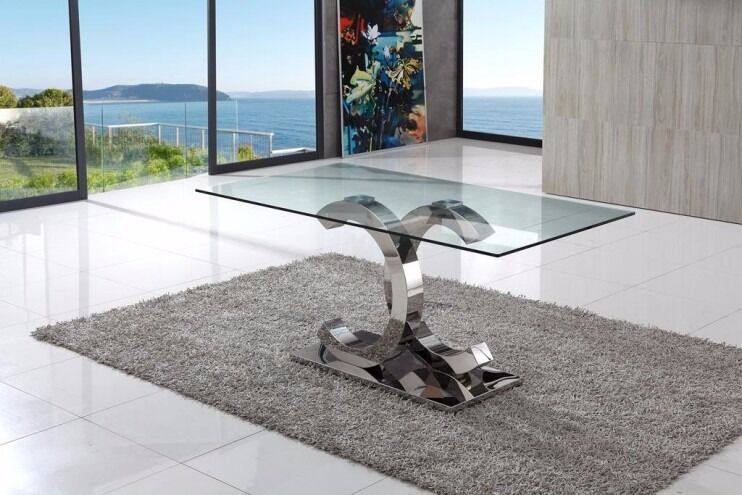 Designer Italian Chanel Steel Chrome Base Clear Glass Dining Table And