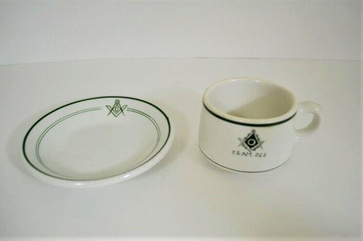 Vintage Masonic FREE MASON Cup And Dessert Dish