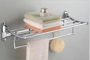 Wall Mounted Towel Rack Bathroom Hotel Holder Storage Shelf Home Stainless Steel (020002)