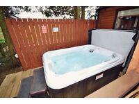 Family Hot tub holiday accommodation log cabin Yorkshire United Kingdom Sleeps 4