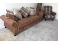 Large leather sofa and armchair set
