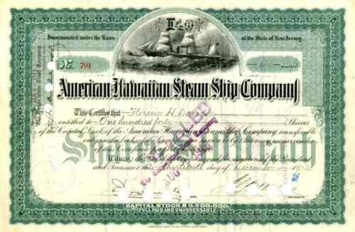 1912 American Hawaiian Steam Ship Stock Certificate