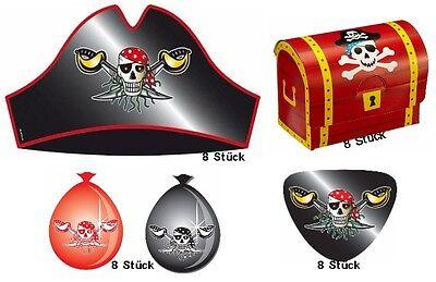 Partyset Roter Pirat für 8 Kinder Hüte Augenklappen Schatztruhen Luftballons  ()