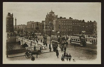 Ireland DUBLIN  O'Connell Bridge tram Bransons Coffee advert PPC