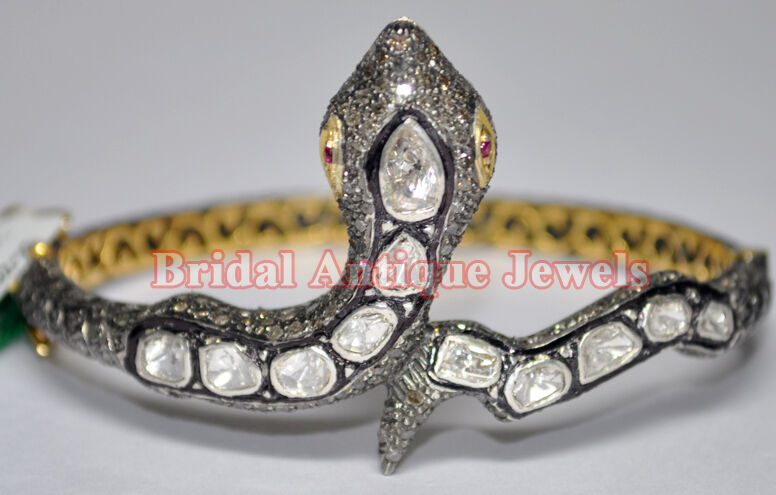 5.16ct Polki Rose Cut Diamond Antique Look 925 Silver Ruby Gemstone Bracelet
