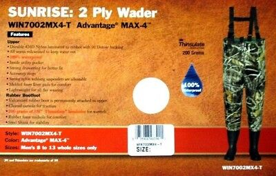 WINCHESTER CAMO SUNRISE 2-PLY CHEST WADER ADVANTAGE MAX-4 CAMOFLAUGE MEN SIZE 10 Advantage Max 4 Waders