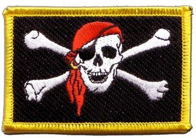 Pirat mit Kopftuch Aufnäher Flaggen Fahnen Patch Aufbügler 8x6cm