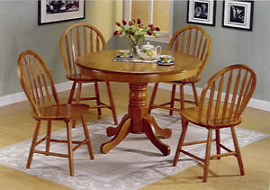 Solid Wood Kitchen Table set with 4 chairs and glass custom top