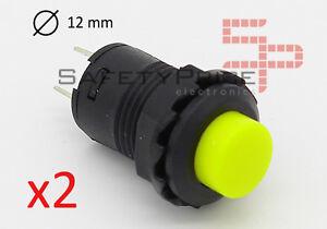 2x-Interruptor-AMARILLO-redondo-12mm-empotrable-boton-ON-OFF-2-posiciones-12-SP