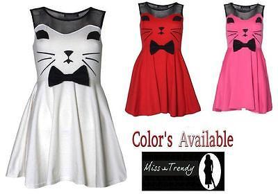 New Womens Ladies Sleeveless Mesh Top Cat Face Bow Skater Dress Sizes uk 8-14