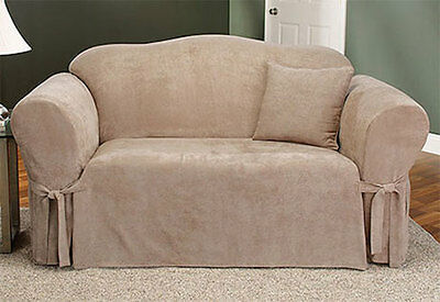 Sure Fit Soft Suede Sofa Slipcover in Taupe for Box Style Seat Cushion One Piece - One Piece Sofa Slipcover