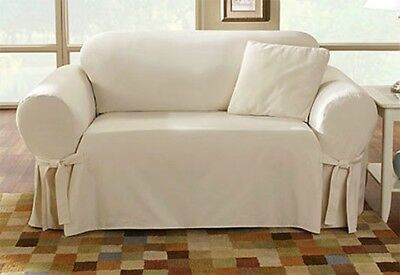 Sure Fit Cotton Duck Loveseat Slipcover in Natural Box Style Seat Cushion 1Piece Cotton Duck Loveseat Slipcover
