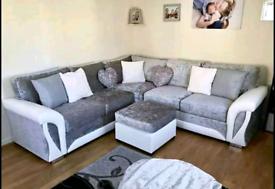 Shannon White And Silver Corner Sofa Full Back