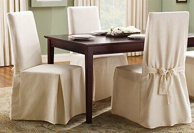 Sure Fit Cotton Duck Long Dining Chair Slipcover in Natural Color 100%