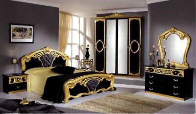 SIBILA BEDROOM SET IN BLACK AND GOLD WITH 4 DOOR WARDROBE (2 YEARS WARRANTY)