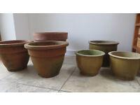 Six Garden Plant Pots