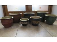 Seven Ceramic Plant Pots