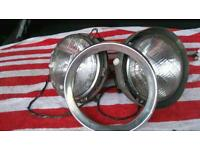 Ford cortina mk 1 headlamps complete with back plate and one repair headlamp panel