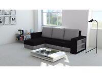 BRAND NEW CORNER SOFA BED MADRAS UNIVERSAL BLACK AND GREY WITH STORAGE