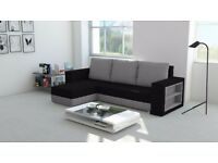 BRAND NEW CORNER SOFA BED MADRAS BLACK AND GREY COLOUR UNIVERSAL WITH A SHELVE ON THE SIDE