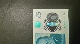 New polymer 5 pound note,mint condition
