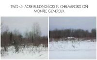 Side by Side +5- acre building lots. $99 900/Each