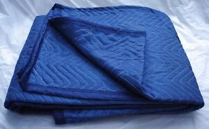 Quilted blue moving blankets.