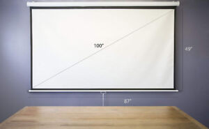 100 inch manual pull down projector screen (matte white)