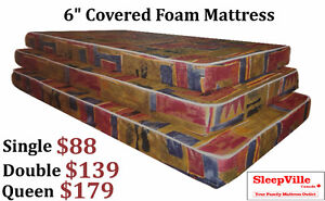 6'' COVERED FOAM MATTRESSES - FREE SAME DAY DELIVERY