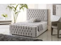 """****BLACK CREAM AND SILVER****"" DOUBLE CRUSHED VELVET CHESTERFIELD BED WITH WIDE RANGE OF MATTRESS"
