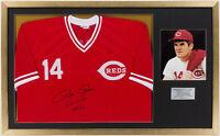 "Pete Rose Signed Cincinnati Reds 26""x42"" Framed Jersey PSA/DNA"
