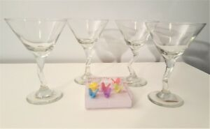 Libbey Martini Glass (4) and Wine Glass Markers
