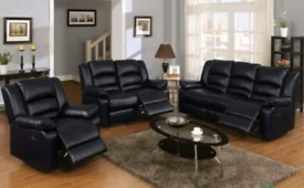 Black bonded leather 3+2+1 Seater Recliner Sofa Full set