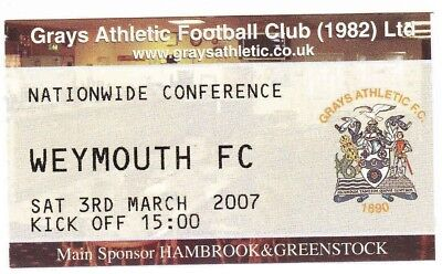 Ticket - Grays Athletic v Weymouth 03.03.07