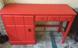 Red Desk with Drawer and Cupboard