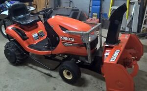 KUBOTA T1870 tractor, snow blower, mow deck, power bagger + more