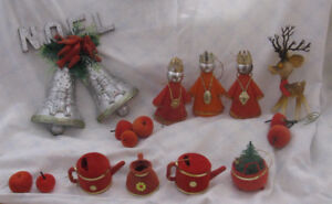 Vintage Christmas decorations with flocking