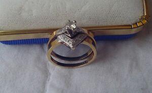 Bague et jonc de mariage OR 10k et 23 points de diamants