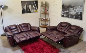 DFS - LazBoy Italian Leather 2x2 Recliner Sofa Set